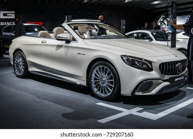Frankfurt, Germany, September 12, 2017: World premiere: Mercedes-AMG S 65 4MATIC+ Cabriolet V12 biturbo at 67th International Motor Show (IAA)
