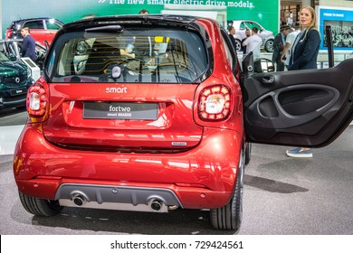 Frankfurt, Germany, September 12, 2017: red Mercedes-Benz Smart fortwo Brabus at 67th International Motor Show (IAA)