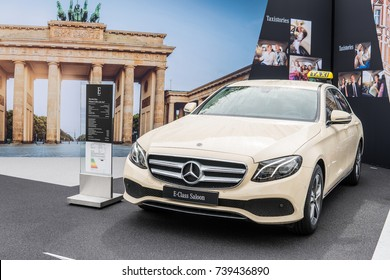 Frankfurt, Germany, September 12, 2017: Mercedes-Benz E-Class E 200 d Das Taxi at 67th International Motor Show (IAA)