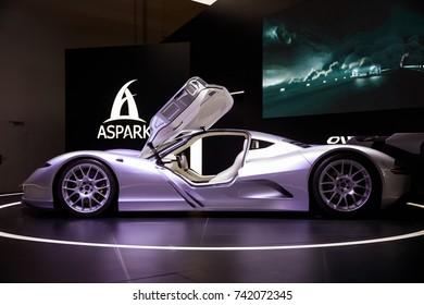 Frankfurt Germany, September 12, 2017: Aspark Owl presented at Frankfurt IAA 2017 motor show.