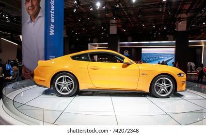 Frankfurt Germany, September 12, 2017: Ford Mustang presented at Frankfurt IAA 2017 motor show.