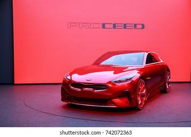 Frankfurt Germany, September 12, 2017: KIA Pro Ceed presented at Frankfurt IAA 2017 motor show.