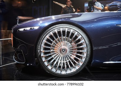 Frankfurt, Germany - September 12, 2017:  2017 Mercedes-Maybach 6 Cabriolet presented on the 67-th Frankfurt International Motor Show(IAA) in the Messe Frankfurt