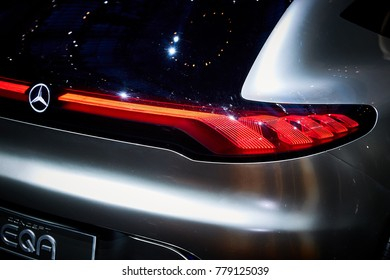 Frankfurt, Germany - September 12, 2017: 2017 Mercedes-Benz EQA Concept presented on the 67-th Frankfurt International Motor Show(IAA) in the Messe Frankfurt