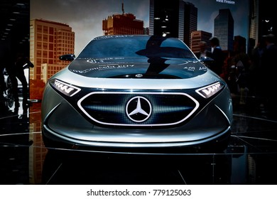 Frankfurt, Germany - September 12, 2017: 2017 Mercedes-Benz EQA Concept presented on the 67-th Frankfurt International Motor Show(IAA) in the Messe Frankfurt