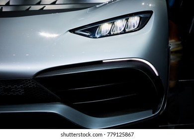 Frankfurt, Germany - September 12, 2017: 2017 Mercedes-AMG Project One presented on the 67-th Frankfurt International Motor Show(IAA) in the Messe Frankfurt