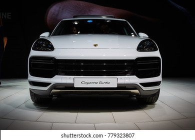 Frankfurt, Germany - September 12, 2017: 2017 Porsche Cayenne Turbo  presented on the 67-th Frankfurt International Motor Show(IAA) in the Messe Frankfurt