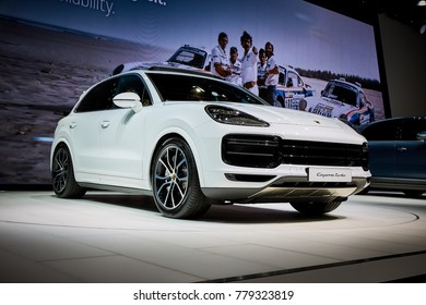 Frankfurt, Germany - September 12, 2017: 2017 Porsche Cayenne Turbo  presented on the 67-th Frankfurt International Motor Show(IAA) in the Messe Frankfurt