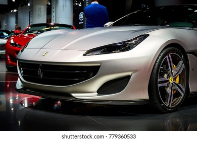 Frankfurt, Germany - September 12, 2017: 2017 Ferrari Portofino presented on the 67-th Frankfurt International Motor Show(IAA) in the Messe Frankfurt