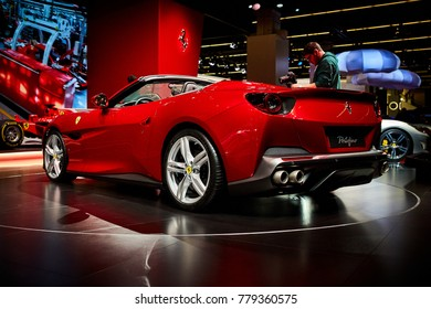 Frankfurt, Germany - September 12, 2017: 2017 Ferrari Portofino presented on the 67-th Frankfurt International Motor Show(IAA) in the Messe Frankfurt