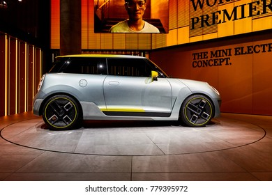 Frankfurt, Germany - September 12, 2017: 2017 MINI Electric Concept presented on the 67-th Frankfurt International Motor Show(IAA) in the Messe Frankfurt