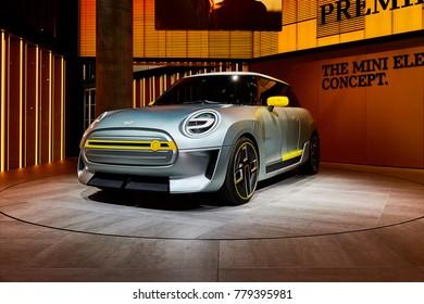 Frankfurt, Germany - September 12, 2017: 2017 MINI Electric Concept presented on the 67-th Frankfurt International Motor Show(IAA) in the Messe Frankfurt