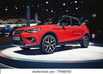 Frankfurt, Germany - September 12, 2017: 2017 Seat Arona FR presented on the 67-th Frankfurt International Motor Show(IAA) in the Messe Frankfurt