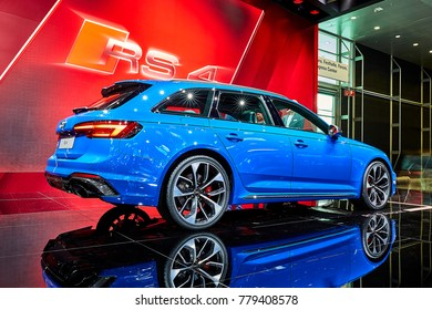 Frankfurt, Germany - September 12, 2017: 2017 Audi RS4 Avant presented on the 67-th Frankfurt International Motor Show(IAA) in the Messe Frankfurt