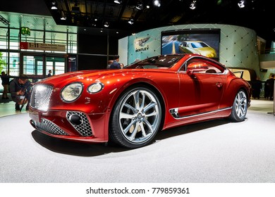 Frankfurt, Germany - September 12, 2017: 2018 Bentley Continental GT presented on the 67-th Frankfurt International Motor Show(IAA) in the Messe Frankfurt