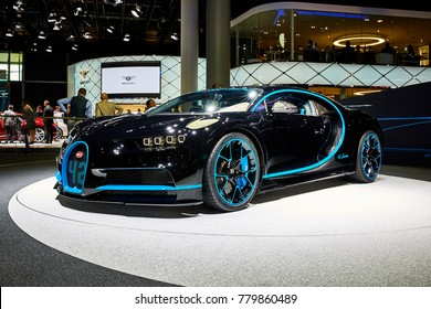 Frankfurt, Germany - September 12, 2017: 2017 Bugatti Chiron 42 Seconds presented on the 67-th Frankfurt International Motor Show(IAA) in the Messe Frankfurt