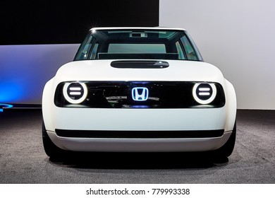 Frankfurt, Germany - September 12, 2017: 2017 Honda Urban EV Concept presented on the 67-th Frankfurt International Motor Show(IAA) in the Messe Frankfurt