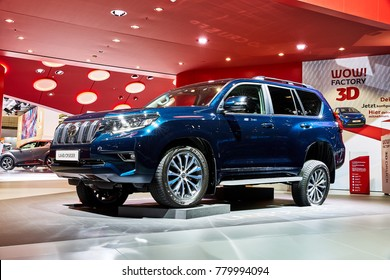 Frankfurt, Germany - September 12, 2017: 2018 Toyota Land Cruiser Prado presented on the 67-th Frankfurt International Motor Show(IAA) in the Messe Frankfurt