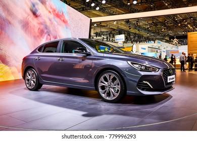 Frankfurt, Germany - September 12, 2017: 2017 Hyundai i30 Fastback presented on the 67-th Frankfurt International Motor Show(IAA) in the Messe Frankfurt