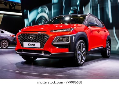 Frankfurt, Germany - September 12, 2017: 2018 Hyundai Kona presented on the 67-th Frankfurt International Motor Show(IAA) in the Messe Frankfurt