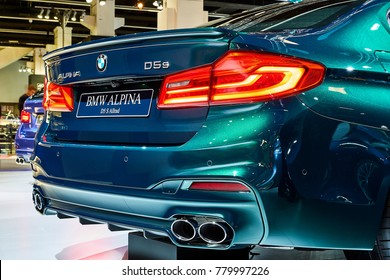 Frankfurt, Germany - September 12, 2017: 2017 Alpina D5 S Allrad presented on the 67-th Frankfurt International Motor Show(IAA) in the Messe Frankfurt