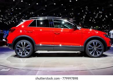 Frankfurt, Germany - September 12, 2017: 2018 Volkswagen T-Roc presented on the 67-th Frankfurt International Motor Show(IAA) in the Messe Frankfurt