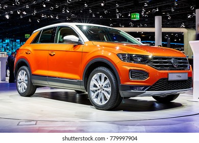 Frankfurt, Germany - September 12, 2017: 2018 Volkswagen T-Roc presented on the 67-th Frankfurt International Motor Show(IAA) in the Messe Frankfurt