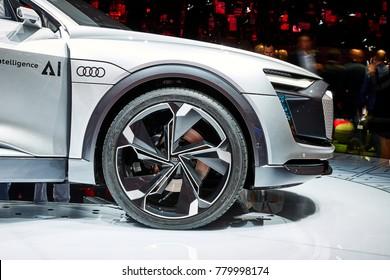 Frankfurt, Germany - September 12, 2017: 2017 Audi Elaine Concept presented on the 67-th Frankfurt International Motor Show(IAA) in the Messe Frankfurt