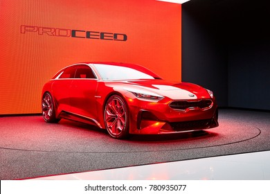 Frankfurt, Germany - September 12, 2017: 2017 KIA ProCeed Reborn presented on the 67-th Frankfurt International Motor Show(IAA) in the Messe Frankfurt