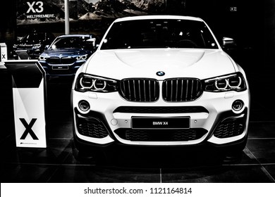 Frankfurt Germany September 13 2017 Metallic White BMW X4 M40i At 67th