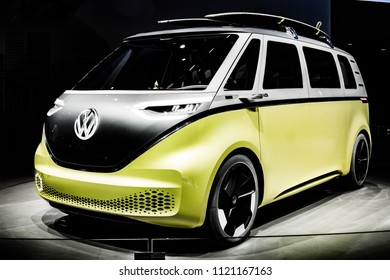 Frankfurt, Germany, September 13, 2017: metallic silver yellow Volkswagen VW ID Buzz Concept Car at 67th International Motor Show IAA