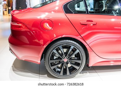 Frankfurt, Germany, September 13, 2017: Jaguar XE R-SPORT 2.5d AWD at 67th International Motor Show (IAA)