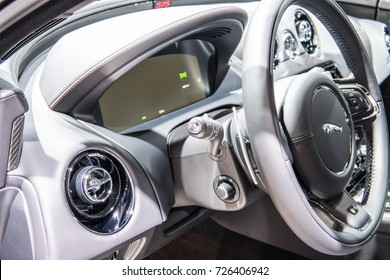 Frankfurt, Germany, September 13, 2017: Jaguar XJ L 575R at 67th International Motor Show (IAA), XJL, XJR575, control board, steering wheel, upholstery