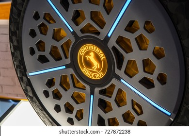 Frankfurt, Germany, September 13, 2017: Continental booth  - ContiSense and ContiAdapt new tire technology concepts for automated driving and electrification at 67th International Motor Show (IAA)