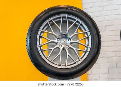 Frankfurt, Germany, September 13, 2017: Exhibits on the Continental booth - New WinterContact TS 860 S winter tire at 67th International Motor Show (IAA)