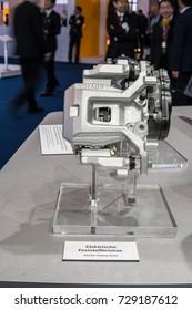 Frankfurt, Germany, September 13, 2017: Exhibits on AISIN Seiki Co booth - Advics Electric Parking Brake System at 67th International Motor Show (IAA)