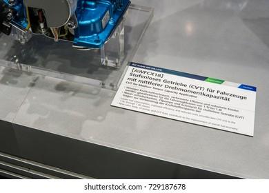 Frankfurt, Germany, September 13, 2017: AISIN Seiki Co both - Cross section of CVT for medium torque capacity application AWFCX18 at 67th International Motor Show (IAA)