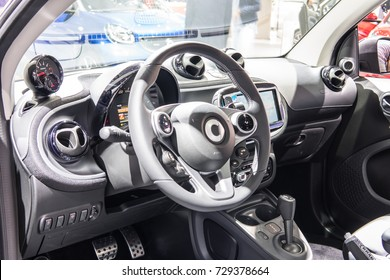 Frankfurt, Germany, September 13, 2017: blue Mercedes-Benz Smart fortwo Brabus at 67th International Motor Show (IAA), control board, steering wheel, upholstery