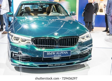 Frankfurt, Germany, September 13, 2017: green BMW ALPINA D5 S Limousine Allroad at 67th International Motor Show (IAA)