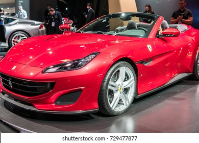 Frankfurt, Germany, September 13, 2017: World premiere: Ferrari Portofino at 67th International Motor Show (IAA)