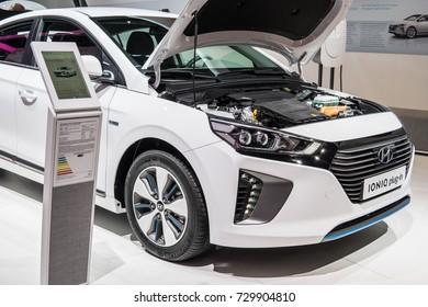 Frankfurt, Germany, September 13, 2017: white Hyundai IONIQ plug-in at 67th International Motor Show (IAA) electric eco friendly car