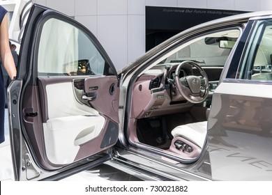Frankfurt, Germany, September 13, 2017: new metallic grey LEXUS LS 500 at 67th International Motor Show (IAA), control board, steering wheel, upholstery, seats