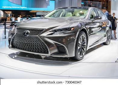 Frankfurt, Germany, September 13, 2017: new metallic grey LEXUS LS 500 at 67th International Motor Show (IAA)