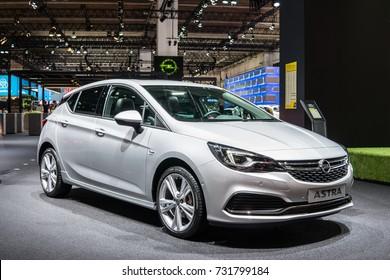 Frankfurt, Germany, September 13, 2017: metallic silver OPEL ASTRA HATCHBACK at 67th International Motor Show (IAA)