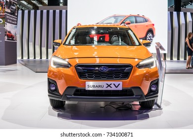 Frankfurt, Germany, September 13, 2017: metallic orange Subaru XV at 67th International Motor Show (IAA)
