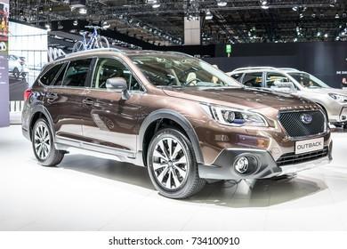 Frankfurt, Germany, September 13, 2017: metallic brown Subaru Outback at 67th International Motor Show (IAA)
