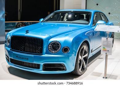 Frankfurt, Germany, September 13, 2017: metallic blue Bentley Mulsanne at 67th International Motor Show (IAA)
