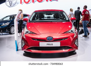 Frankfurt, Germany, September 13, 2017: metallic red Toyota Prius at 67th International Motor Show (IAA), electric Hybrid