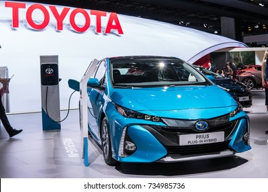 Frankfurt, Germany, September 13, 2017: metallic blue Toyota Prius Plug-in Hybrid at 67th International Motor Show (IAA)