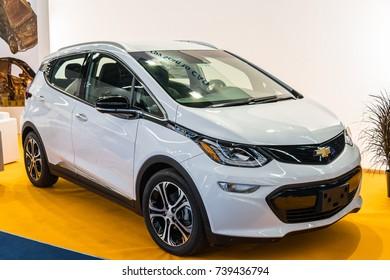 Frankfurt, Germany, September 13, 2017: white Chevrolet Bolt EV, electric hybid plug-in eco friendly car at 67th International Motor Show (IAA)